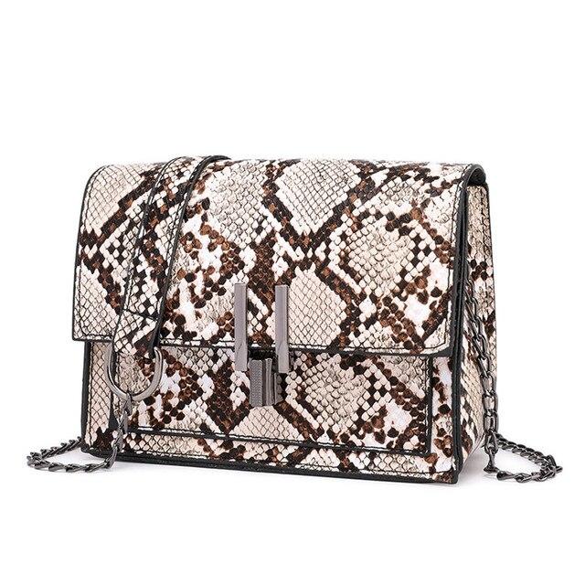 Serpentina Retro Quadrado Cadeia Crossbody Sacos para Mulheres Bolsa Cobra Imprimir PU de Couro Bolsa de Ombro Feminino Messenger Bag # YU
