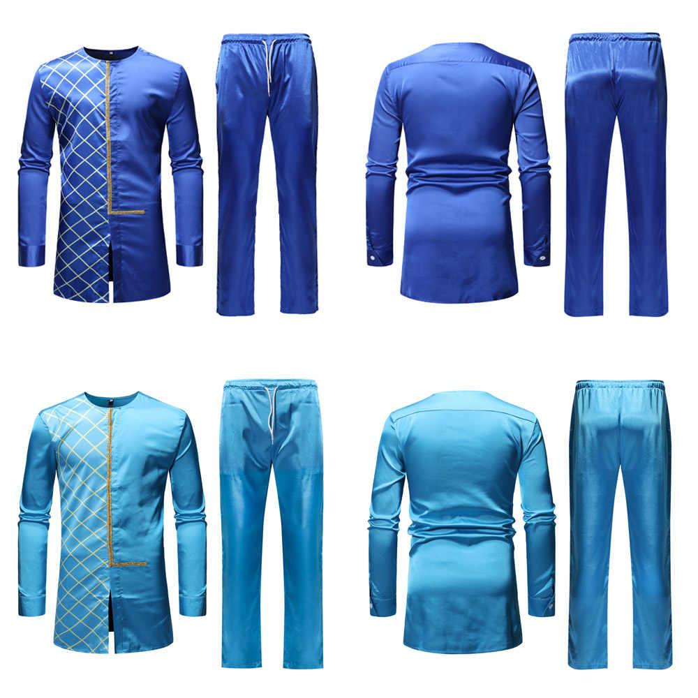Fadzeco Dashiki conjunto de pantalón de hombre conjunto de 2 piezas ropa de hombre africano 2019 Riche ropa africana para hombre camisa con pantalón