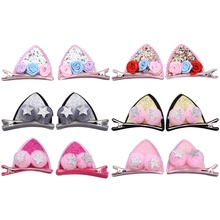 Lovely Cat Ear Hairpins Hair Clip Ornaments Baby Girls Barrettes Ball Flower New