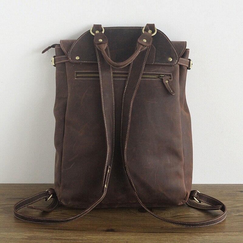 "Купить с кэшбэком 100% Genuine Leather Man Backpack Man Fashion Travel Top Laptop Bag Cow Leather Backpack 15"" Mochila Teenager School Laptop Bags"