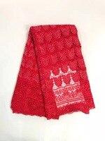 Высокое качество гипюровая кружевная ткань красного цвета Африканский шнур кружева оптовая цена Тюль кружевная ткань с камнями для вечерн