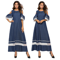 Women Denim Long Dress Casual Cold Shoulder Short Sleeve Maxi Robes Hollow Out Sleeve Mesh Loose Gown O neck Horn Sleeve Fashion