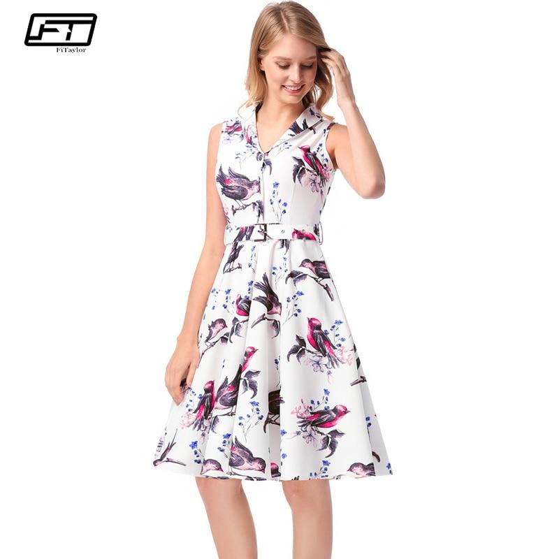 Fitaylor 2018 новый летний Винтаж женское платье плюс Размеры без рукавов с цветочным принтом пикантные Платья для вечеринок модные милые белые ...