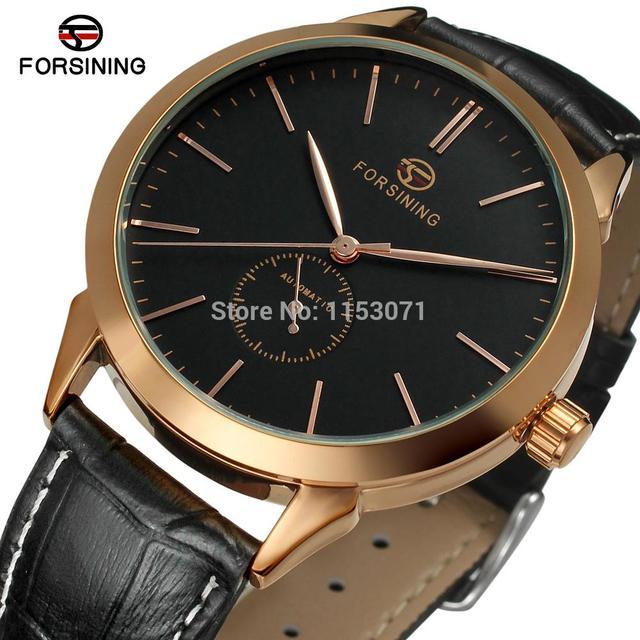 5365f89c763 Forsining FSG8083M3R2 relogios Automáticos dos homens de luxo relógio com  mostrador preto   couro de importação