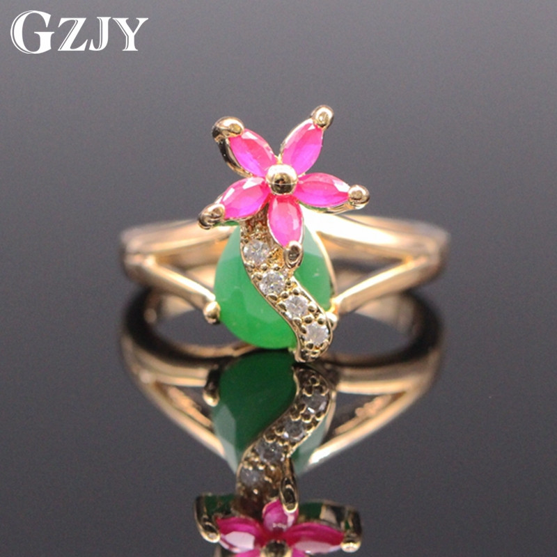 e43b71341549d US $6.29 30% OFF GZJY Pretty Unique Design Fashion Women Jewelry Natural  Red & Green Zircon Gem Gold Color Flower Ring Size 6 7 8 9 Wholesale-in  Rings ...