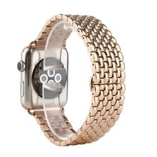 Métal En Acier Inoxydable 7 Points Montre Bande pour Apple Watch 38mm 42mm Iwatch Bracelet Noir Argent Or Rose Butterfly Fermoir Bracelet