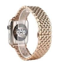 Métal En Acier Inoxydable 7 Points Montre Bande pour Apple Watch 38mm 42mm Iwatch Bracelet Noir Argent Or Rose Butterfly Fermoir Bracelet