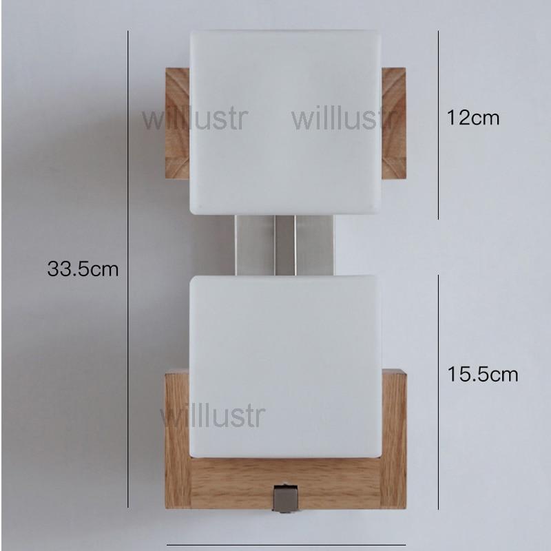 Willlustr Cubi wandleuchte glas Lampe holz basis cubic design ...