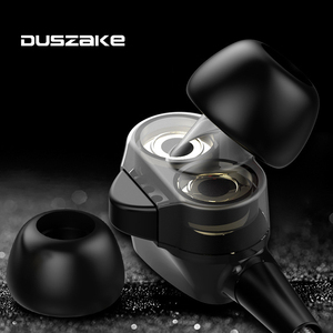 Image 5 - Duszake  Stereo Bass Headphone In Ear 3.5MM Wired Dual driver Earphones Metal HIFI Earpiece with MIC for Xiaomi Samsung Phones