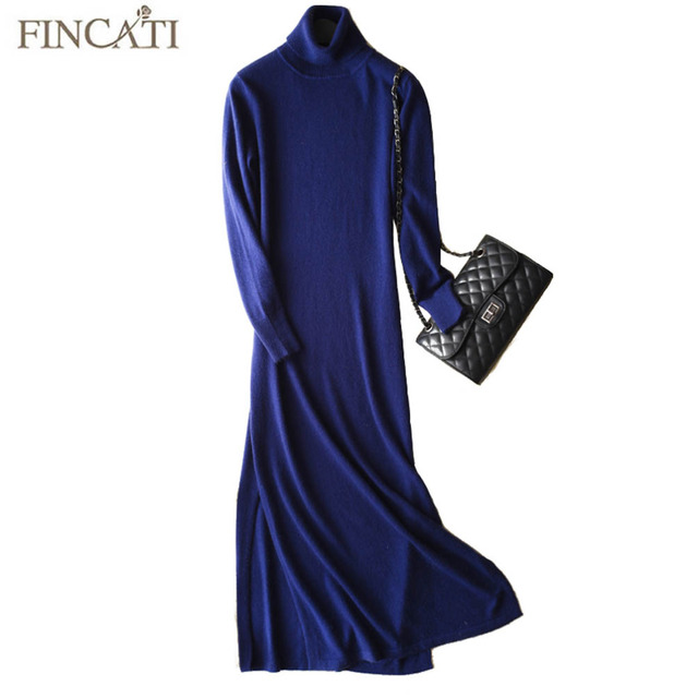 Long Maxi Dress Women 2018 Autumn Winter England Style High Grade 100% Cashmere  Knitted Fluffy Cozy Sweater Dresses Vestidos 2ccc1b86e804