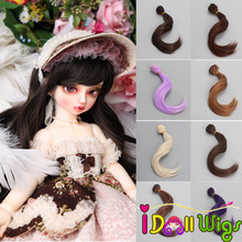 High Quality 1 Piece 15cm Brown Red Khaki Purple Big Wave Curly Hair Wefts for DIY BJD/SD/Blyth/American Doll Wigs цена