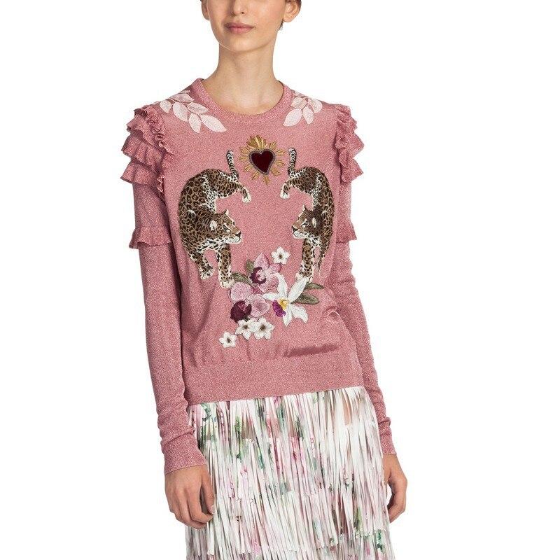 2018 зима Рождество животных вышивка розовый вязаный свитеры для женщин пуловеры взлетно посадочной полосы дизайн рюшами Элегантн