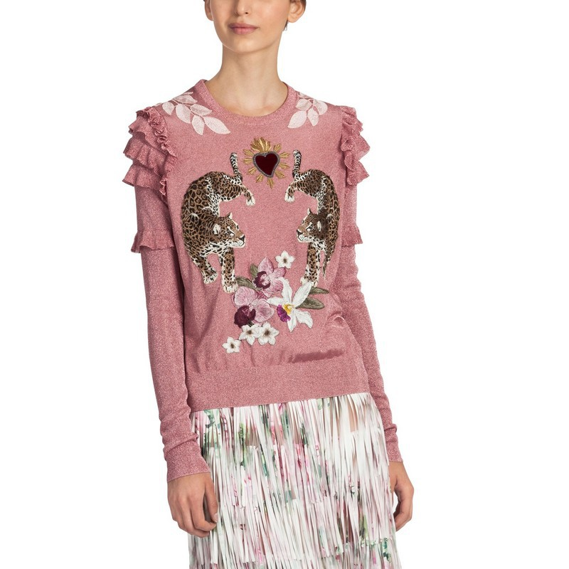 2019 Winter Christmas Animal Embroidery Pink Knitted Sweaters Pullovers Women Runway Design Ruffle Elegant Clothes Lady Clothes