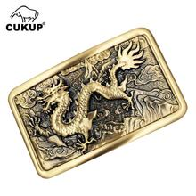CUKUP Brand Belts Buckle DIY 3D Solid Brass Belt Buckles Chinese Style Dragon Pattern Zodiac Youth 2018 New Designers BRK006