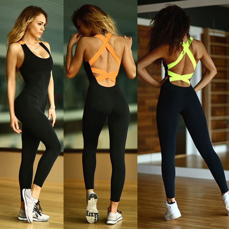 New Women  Jumpsuits Workout Print Pants Fitness Stretch Trousers