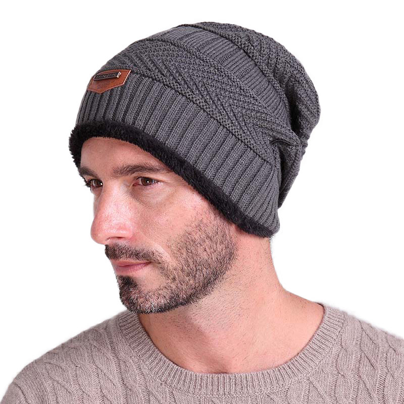 Mens Skullies Beanies Hats Caps Autumn Winter Thicken Warm Fleece Knitted Wool Hat Cap For Men Christmas Gift Cheap Wholesale