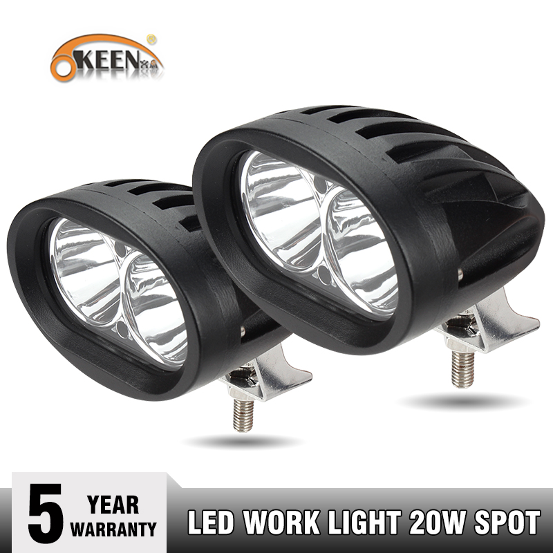 OKEEN 2pcs 20W White Motorcycle Headlights Auxiliary Lamp Led Work Light Bar Spotlight Accessories 12V LED Off Road Headlights
