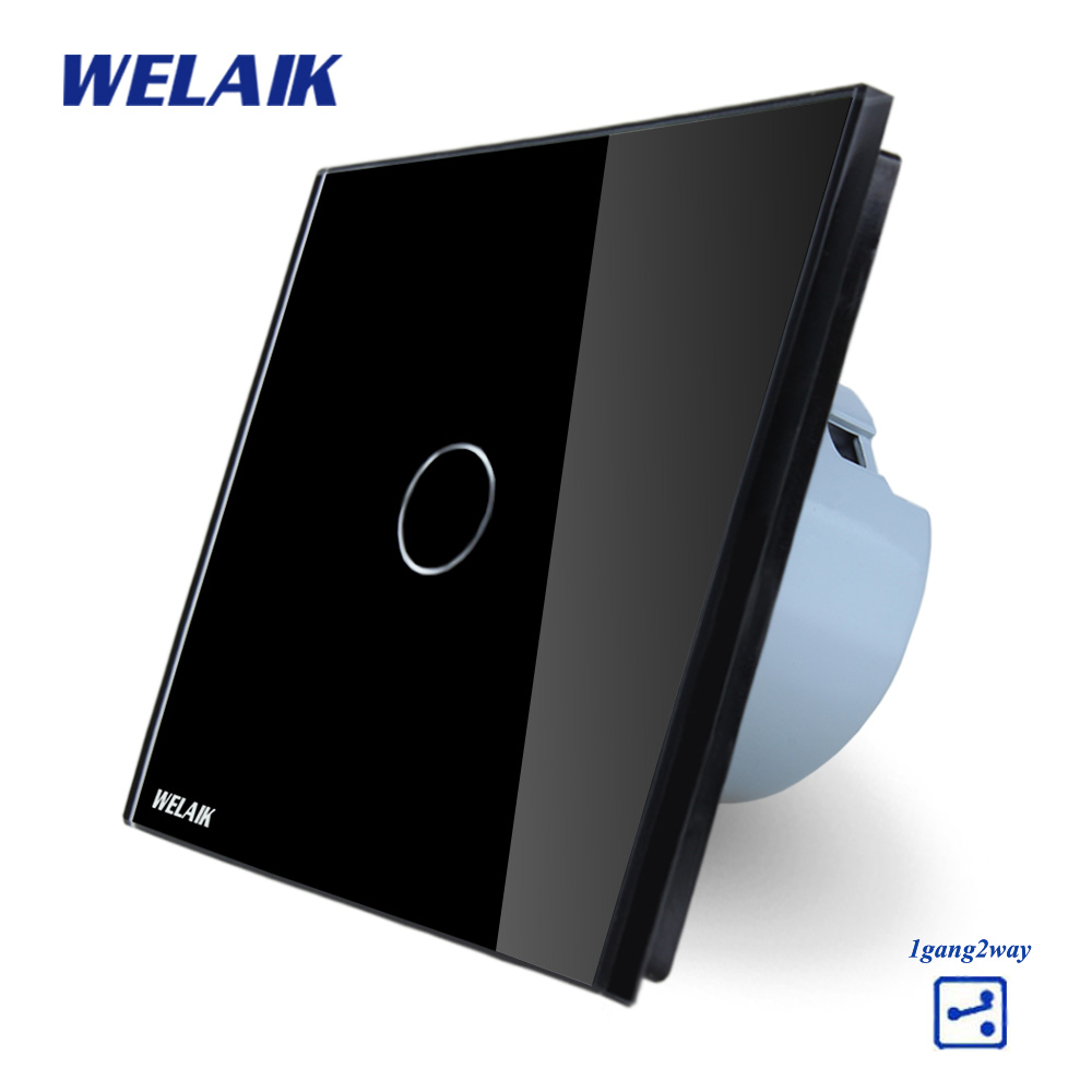 WELAIK Crystal Glass Panel Switch black Wall Switch EU Touch Switch Screen Wall Light Switch 1gang2way AC110~250V A1912CB touch switch 2 way 1 gang black white crystal glass switch panel wall light touch screen switch 110 220v ac hot