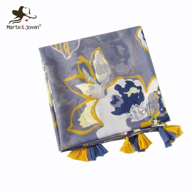 Marte&Joven Women Polyester Art Floral Printing Shawls Tassels Scarves Spring Large Size Ladies Blue Warm Hijab Pashmina Wraps