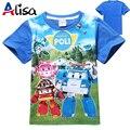 2017 nova chegada meninos e meninas t-shirt POLI ROBOCAR Miúdos Dos Desenhos Animados verão T-shirt Crianças Frete Grátis