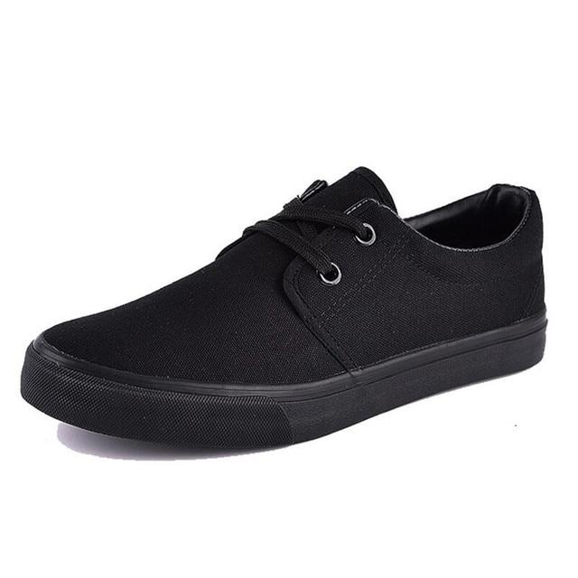 Mới buộc dây giày vải đen Nguyên Chất nam xuân thu thoáng khí nam All Đen giày vải IAXYUE