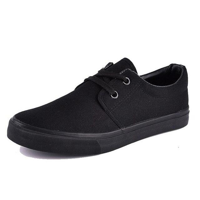 New ren-up giày vải Tinh Khiết nam màu đen mùa xuân và mùa thu người đàn ông thở của giày tất cả các màu đen giày vải IAXYUE