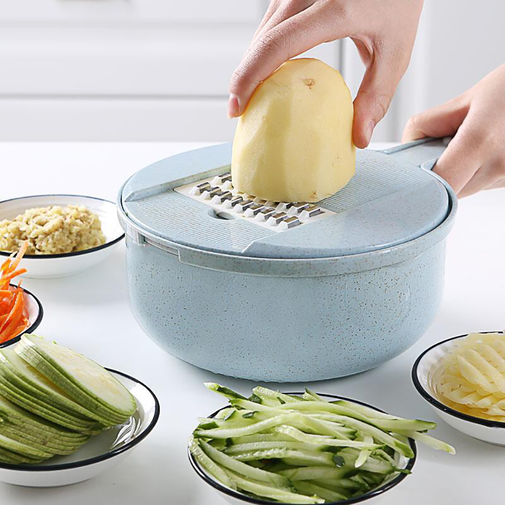 Manual Round Vegetable Slicer Grater Slicer Potato Peeler Kitchen Tool Chopper Container Drain Basket Hand Guard Cover Separator in Manual Slicers from Home Garden