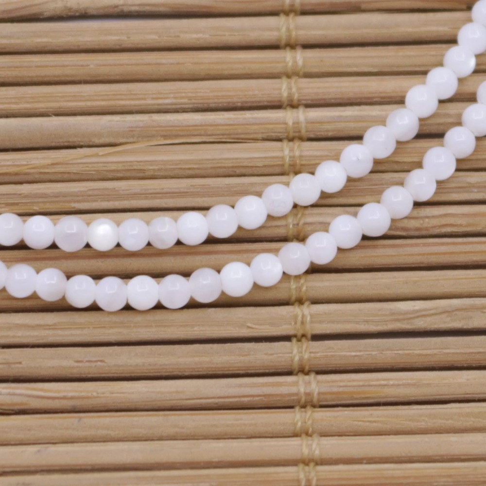 "Купить с кэшбэком 2.5mm Round Shell Natural White Mother of Pearl Loose Beads 15"" Jewelry Making"