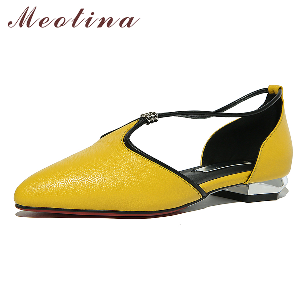 Meotina Shoes Women Genuine Leather Flats D'orsay Strap Shoes Pointed Toe Autumn Casual Flats Yellow Green Large Size 9 41 42 pu pointed toe flats with eyelet strap