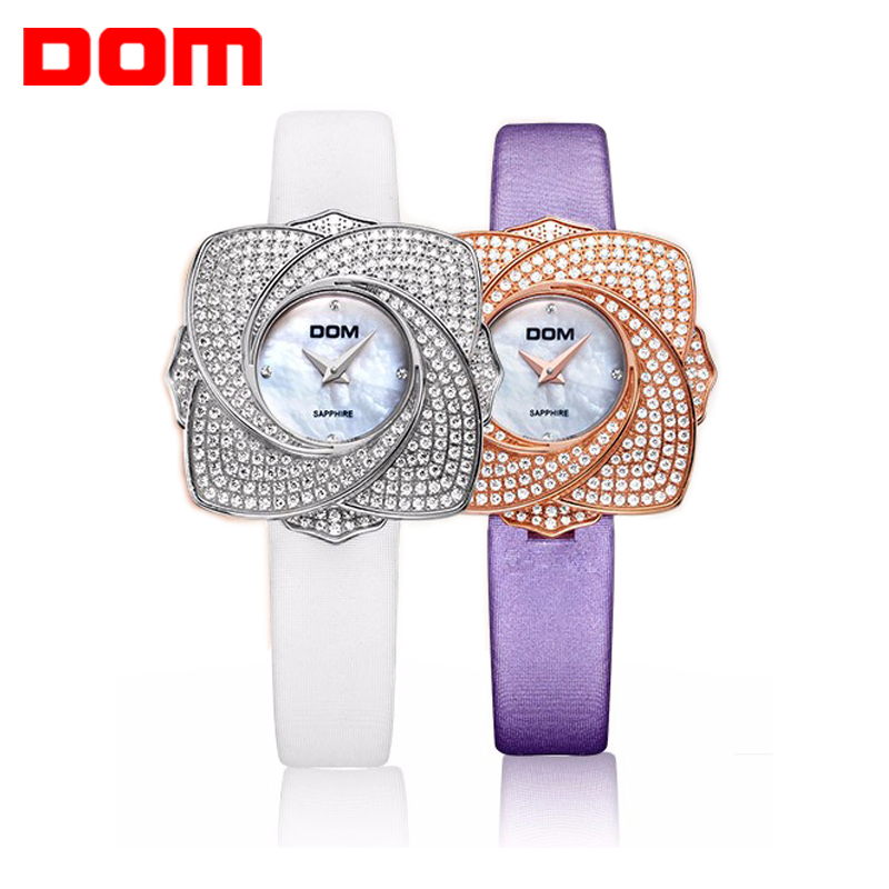 DOM Women's watches luxury brand watches waterproof style quartz leather sapphire crystal Wrist watches for Women clock hot G637 цена и фото