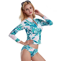 2018 New Zipper Long Sleeved Sunscreen Sexy Leaves Print Bikini Swimwear Low Waist Swimsuit Europe Beach