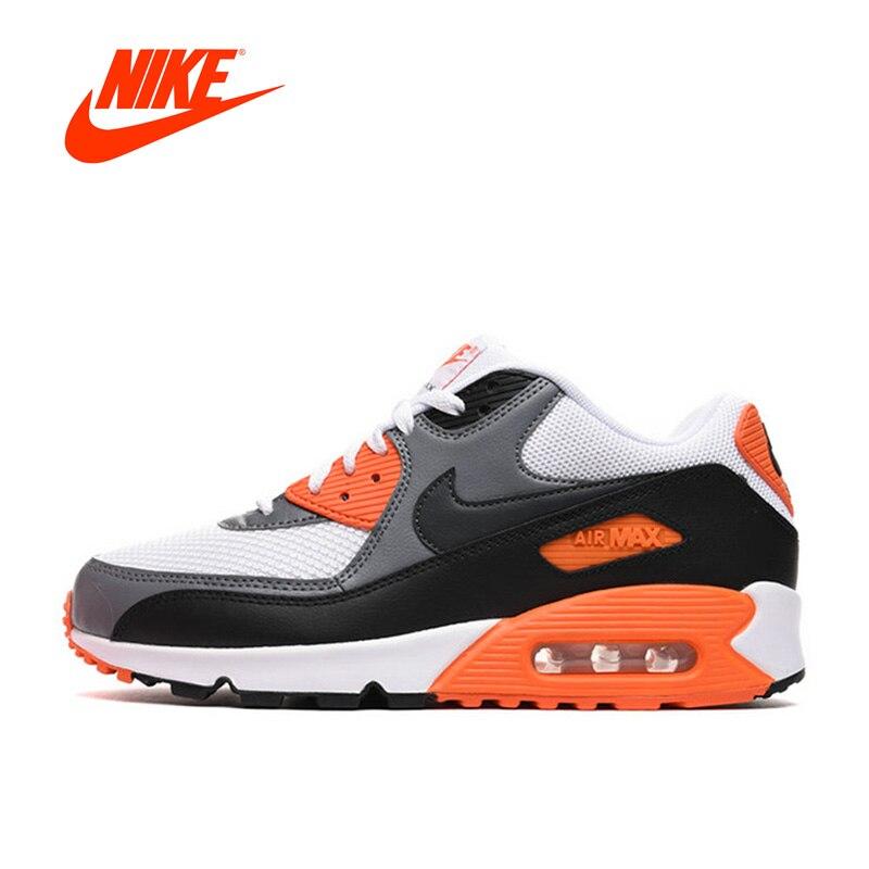 Оригинальные аутентичные NIKE Для мужчин обувь AIR MAX 90 ESSENTIAL дышащие уличные кроссовки мужские туфли спортивные дизайнер 537384-128