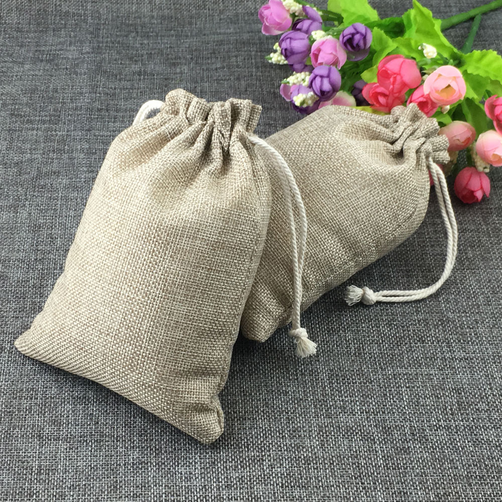 20pcs Fashion Natural Gifts Jute <font><b>Bag</b></font> Cotton Thread Drawstring <font><b>Bags</b></font> Jewelry <font><b>Packaging</b></font> Display For Wedding/Party/Birthday Pouch image