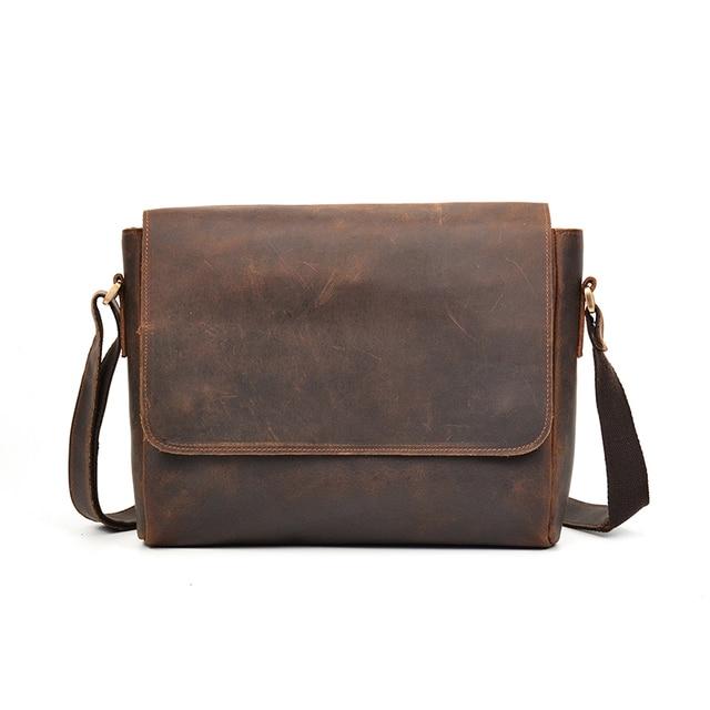 Men S Genuine Leather Messenger Bag School Bags For Boys Fashion Handmade Crossbody Shoulder