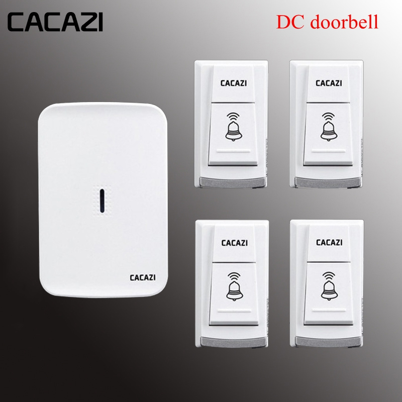 CACAZI W906 Wireless doorbell,4 transmitters+1 receiver,battery source,36 ringtones,3 volume,280M operating range in open areaCACAZI W906 Wireless doorbell,4 transmitters+1 receiver,battery source,36 ringtones,3 volume,280M operating range in open area