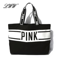 2017 Women Canvas Shopping Bags Shopper Tote Zipper Eco Shoulder Versatile Sack Summer Holiday Beach PINK Letter Handbag Bolsos