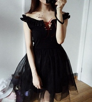 Gothic Lolita Girls Sexy Black Strapless Tulle Lace Up Dress