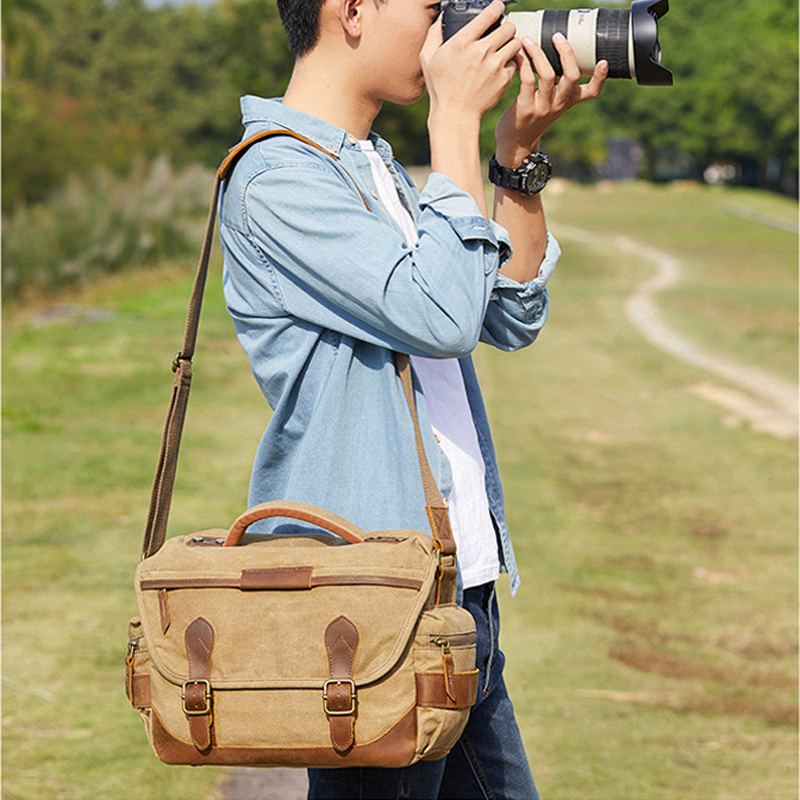 Vintage Retro Waterproof Camera Batik Canvas Photography Shoulder Casual Messenger Photo Men Women Bag for Canon