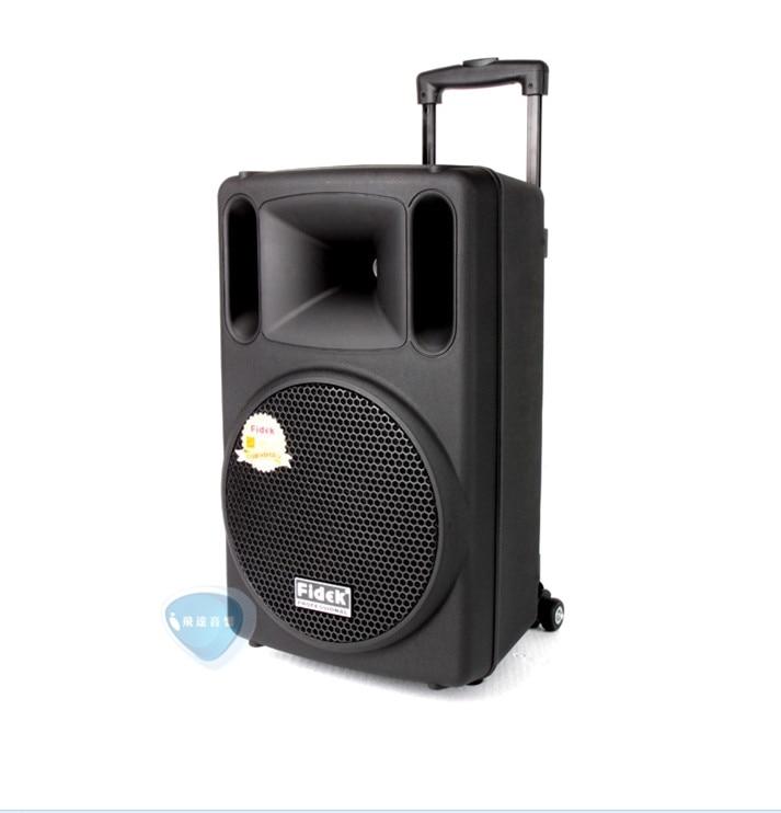 все цены на Fidek FPX-100BT card outdoor Professional Audio Trolley speaker Portable rod WiFi mobile speaker battery 10 inch With Bluetooth онлайн