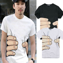 Fashion Shirts Funny 3D Cool Men Women Round Neck Short Sleeve Couple Shirt Big Hand Printed Cotton Casual T-shirt