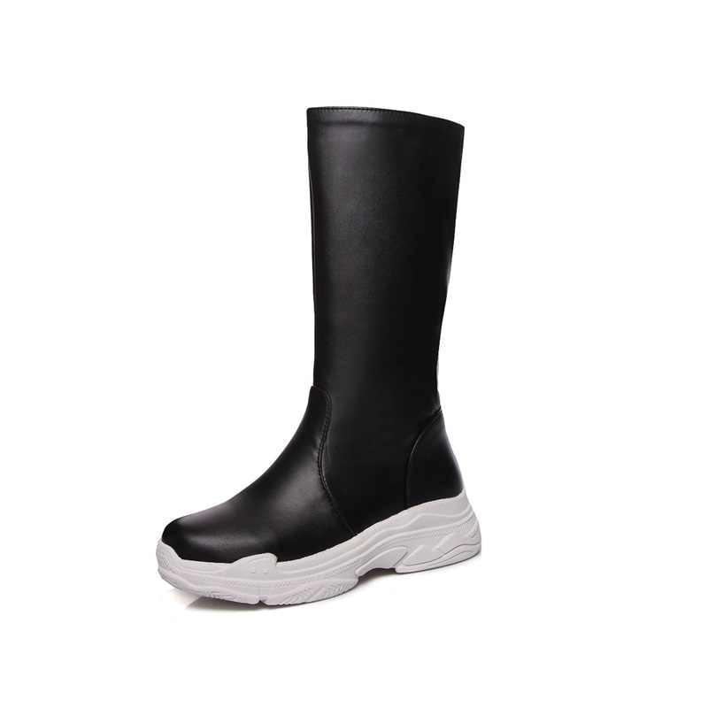 EGONERY ayakkabı kadınlar 2019 yeni eğlence kolej tarzı med takozlar platformu slip-on beyaz ve siyah büyük boy kış orta buzağı botları