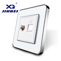 Manufacture Jiubei White Crystal Glass Panel 2 Gangs Wall Tel And Satellite Socket Outlet SV C701TS