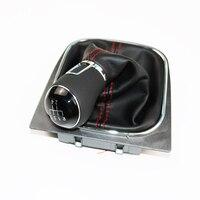 DAZOO 5 Speed Red Line PU Cove Gear Shift Knob with Genuine Leather Handle For J etta 5 6 GOLF 6 VI MK5 MK6 5KD711113