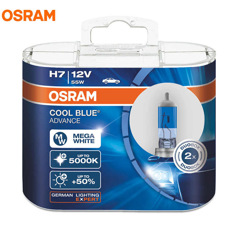 OSRAM Cool Blue Advance H1 H3 H4 H7 H9 H11 9005 9006 HB3 HB4 9003 12V 5000K Mega White Halogen Bulbs Car Headlight Fog Lamp, 2X