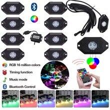 8 pièces multicolore rvb LED Kit de lumière de roche puces LED sous voiture camion véhicule lumière Bluetooth pour tout terrain SUV 4WD ATV