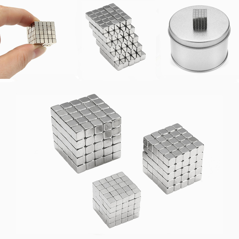 3/4/5mm 125pcs Magnetic Cube Tin Box Magnet Balls Magic Square 3D Puzzle Toy Gift Decor New