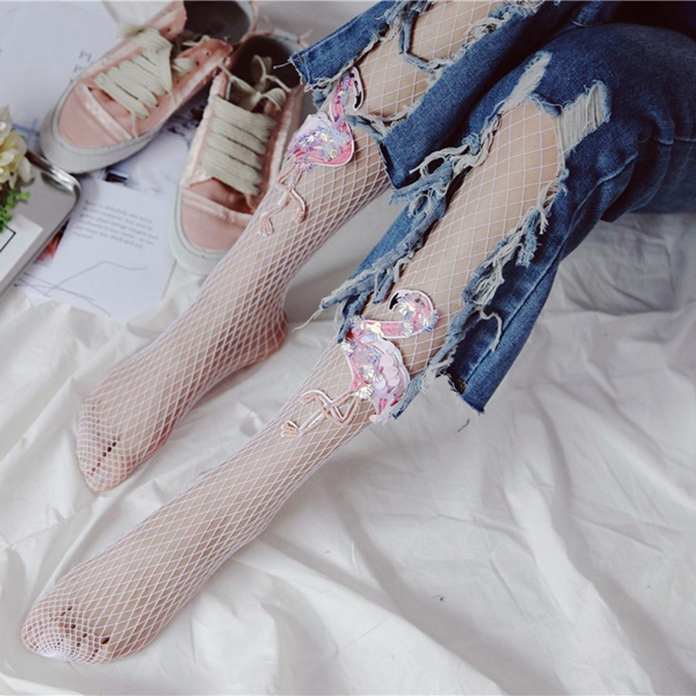 Sexy Women Mesh Pantyhose Fishnet Tights Flamingo Embroidery Printed White One Size Hollow out Stockings 150-175cm
