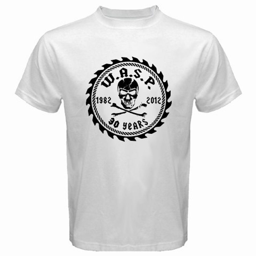 New Rare W.A.S.P. WASP 30 Years Metal Rock Band Mens White T-Shirt Size S-3XLLetter T Shirt men Casual White T-shirt Custom