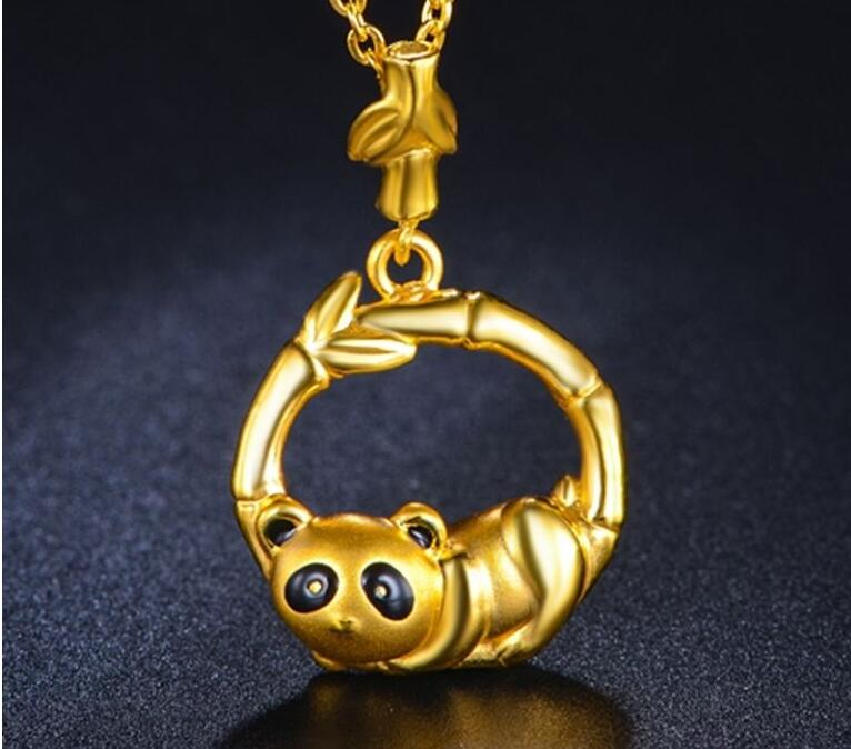 Pendentif en or jaune pur 999 24 K/Panda chanceux 3D avec pendentif en bambou