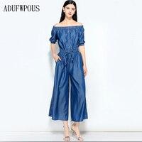 2018 сезон весна лето Новый Женская одежда Tiansi джинсовый комбинезон с эластичной талией слово плечи широкие ноги комбинезон